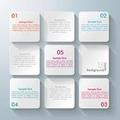 9 の白い正方形のデザイン — ストックベクタ