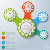Infographic White Connected Gears ABCD — Stock Vector