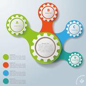 Infografía blanco engranajes conectados abcd — Vector de stock