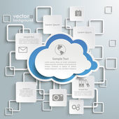Blue Cloud White Rectangles Infographic — Stock Vector