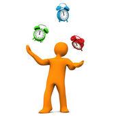 Manikin Juggling Alarmer, — Stock Photo