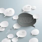 Bevel Speech Bubbles Black Opinion Infographic Design — Stock Vector