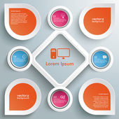 Inicialização de grande Rhombus 4 círculos coloridos infográfico — Vetor de Stock