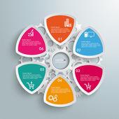 6 ラウンドの三角形産業生産インフォ グラフィック — ストックベクタ