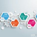 Infographic Hexagon Gears Line — Stock Vector