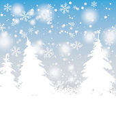 Snow Trees Christmas Background — Stock Vector