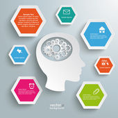 White Head Gears Colored Hexagons — Stock Vector