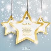 Snow Stars Three Golden Star Background — Stock Vector