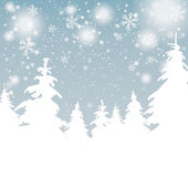 Snow Background Christmas Trees — Stock Vector