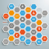 Colored Honeycomb Background Infographic — Stock Vector