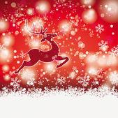 Winter Christmas Rentier Red Background — Stock Vector