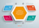 4 Colored Bevel Rectangles Hexagon Infographic — Stock Vector