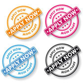 Apply Now Papper labels — Stock Vector