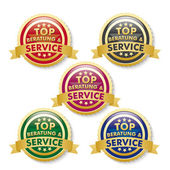 Top Consulting And Service 5 Golden Buttons — Stock Vector