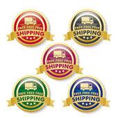 Free Shipping 5 Golden Buttons — ストックベクタ