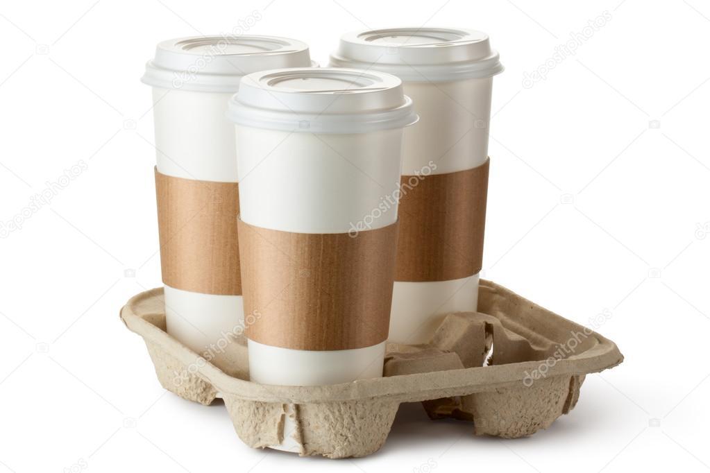 Caf para llevar tres en soporte fotos de stock for Cafe para llevar