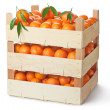 Three retail crates of ripe tangerines — Stock Photo