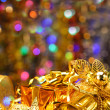 Gold Christmas decorations. — Stock Photo