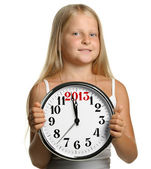 The girl hold in hands a big clock with figures 2013 — Stock Photo