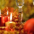 Festive decorations with candles — Stock Photo