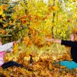 Children play yellowing of autumn leaves — Stock Photo #13963589