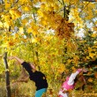 Children play yellowing of autumn leaves — Stock Photo #13963601
