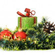 Christmas gift and decorative objects. - Stock Photo