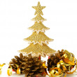 Gold decorated Christmas trees and holiday object — Stock Photo #14208052