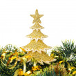 Stock Photo: Gold decorated Christmas trees and holiday object