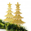 Gold decorated Christmas trees and holiday object — Stock Photo #14208241