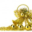 Gold christmas handbell — Stock Photo