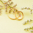 Gold wedding rings and branch flowers — Stock Photo