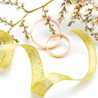 Stock Photo: Gold wedding rings and branch flowers