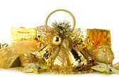 Gold Christmas decoration of objects — Stock Photo