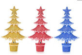 Set of decorated Christmas trees — Stock Photo