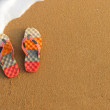 Colorful flip-flops on the sand - Stock Photo
