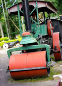 Old steam roller machines for laying of asphalt — Stock Photo