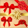 Set of red and gold vintage gift bows with ribbons. — Stock Vector #45099625