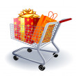 Supermarket shopping cart full of holyday gifts. — Stock Vector #45099503