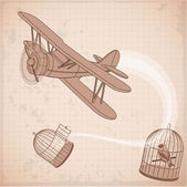 Vintage biplane fly to freedom abstract. — Stock Vector