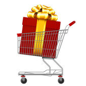 Supermarket shopping cart full of holyday gifts. — Stock Vector