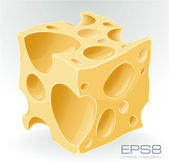 Yellow porous cheese cube on white. — Stock Vector