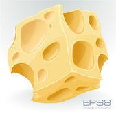 Yellow porous cheese cube on white. — Stock Vector