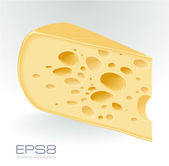 Piece of cheese on white. — Stock Vector