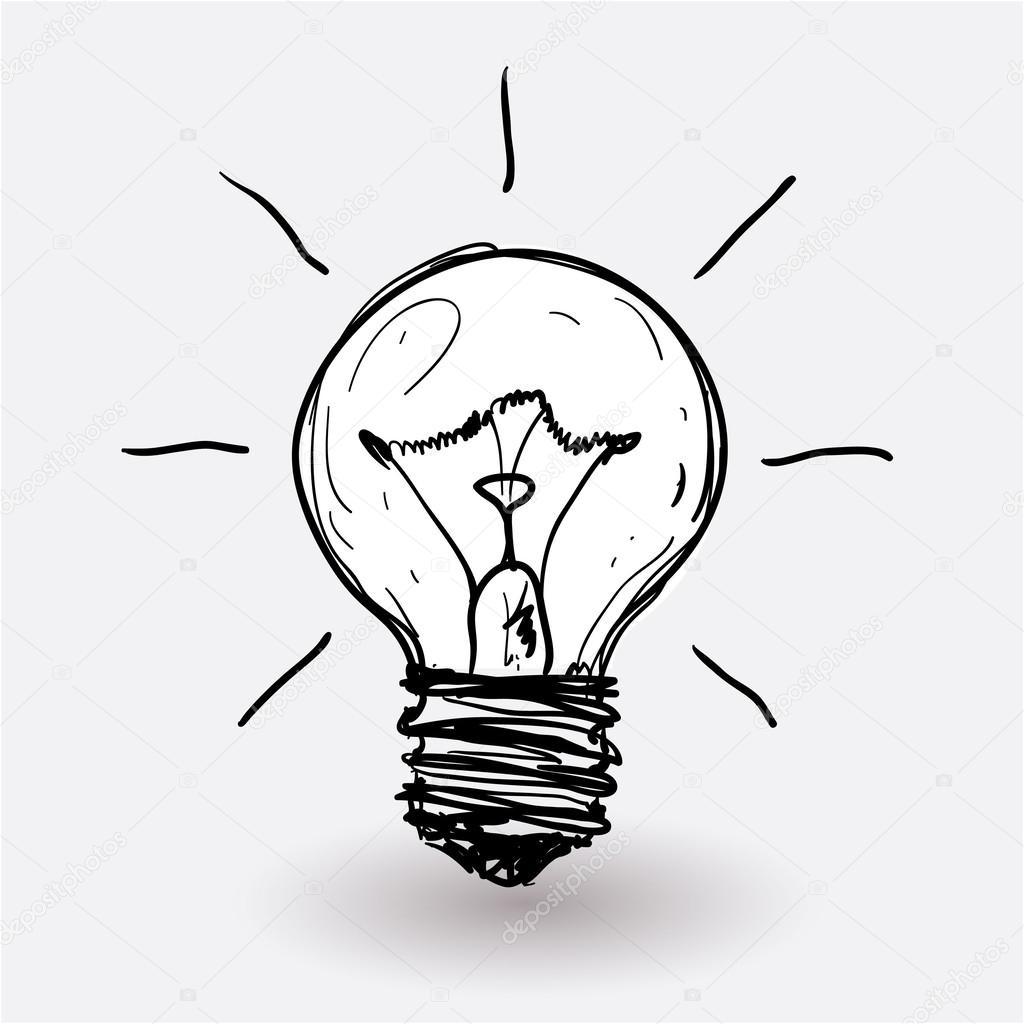 Lampadina elettrica stilizzata vector bozza — vettoriali