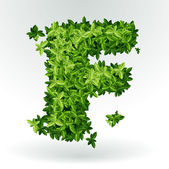 Letter F, green leaves summer vector alphabet. — Vecteur