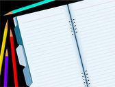 Desktop met notitieblok openen en potloden. — Stockvector