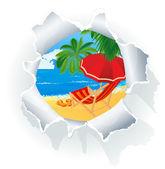 Paradise beach through paper hole. — Stock Vector