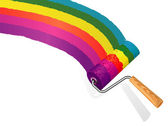 Rainbow paint roller. — Stock Vector