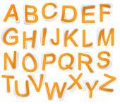 Paper tape alphabet font. — Stock Vector